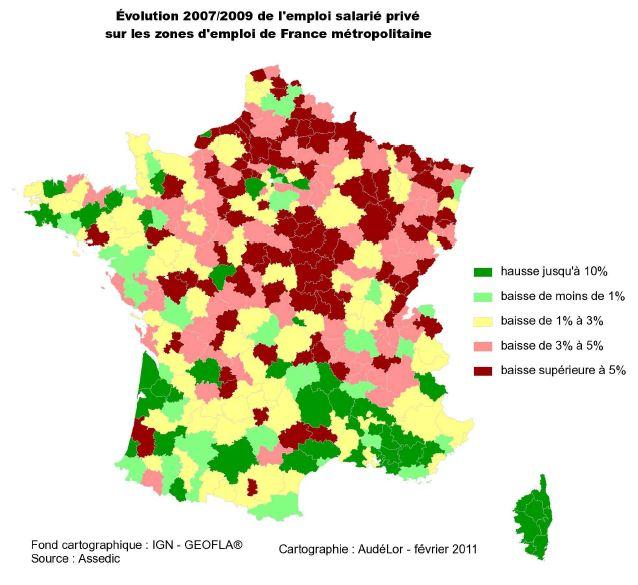 Evolution de l'emploi sur les zones d'emploi FR pendant la crise