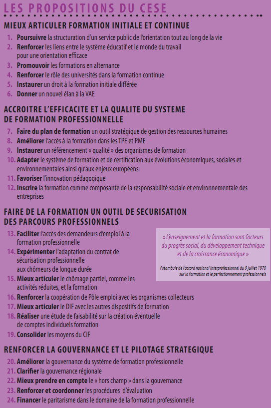 Formation pro - propositions CESE