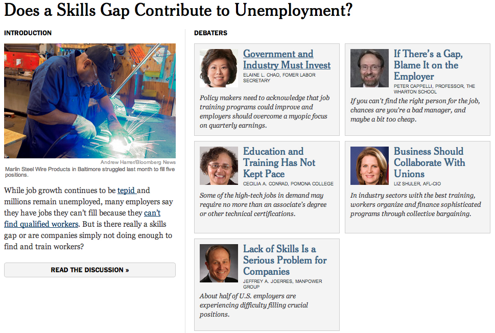 Does a Skills Gap contribute to high unemployment ? Débat NY Times