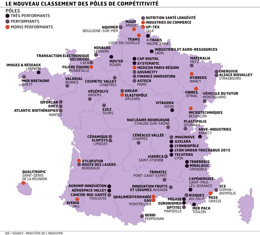 Carte de France des pôles de compétitivité