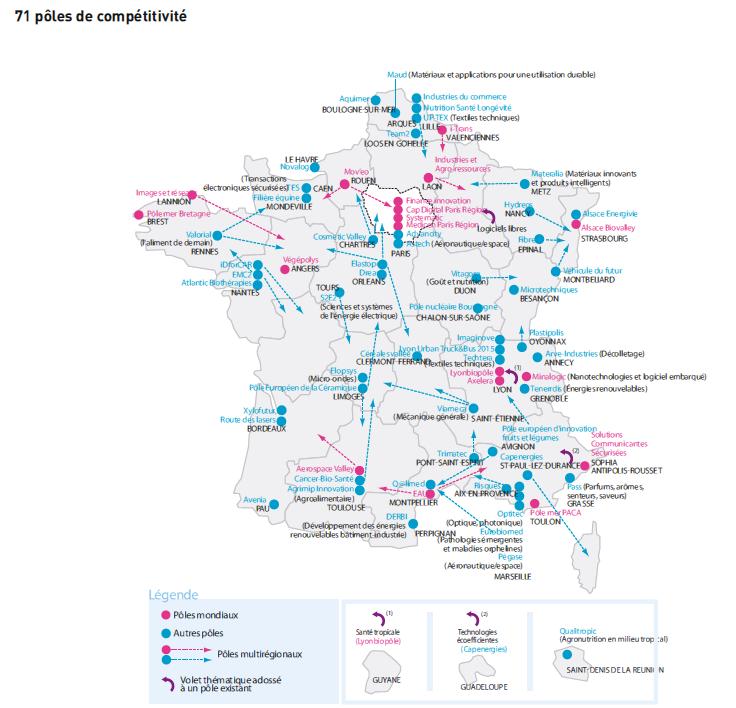 Les pôles de compétitivité en France