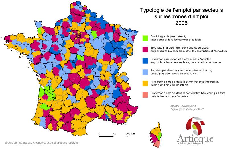 Typologie des zones d'emploi en France