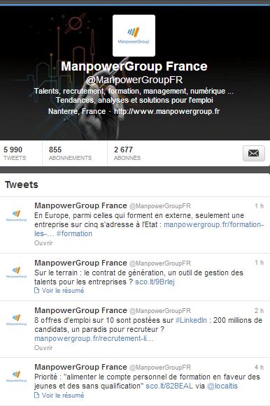 ManpowerGroup et l'Atelier de l'emploi sur Twitter
