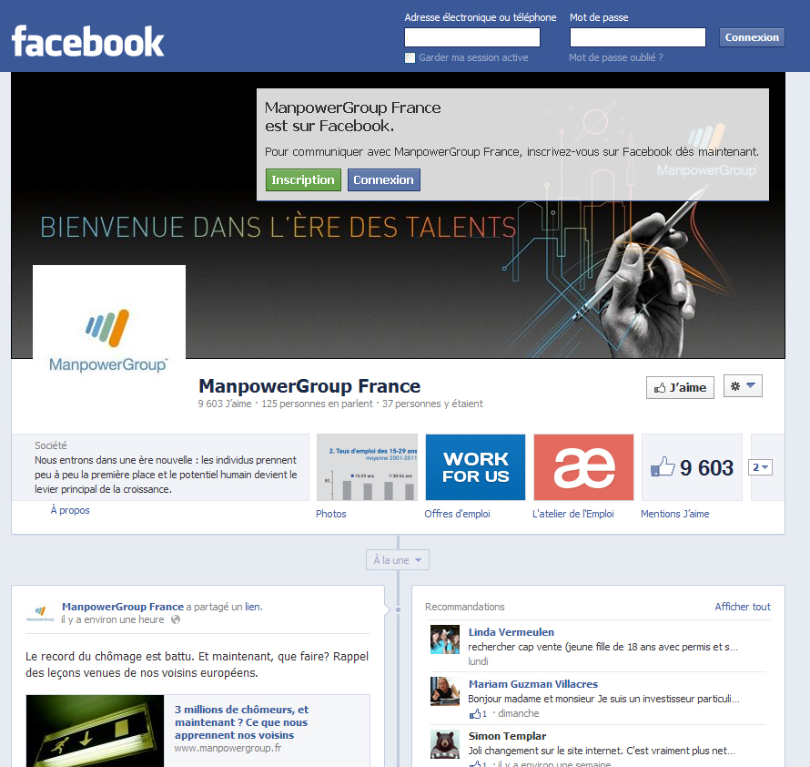 L'Atelier de l'emploi et ManpowerGroup sur Facebook