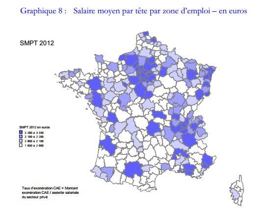 Salaire moyen par tête en 2012
