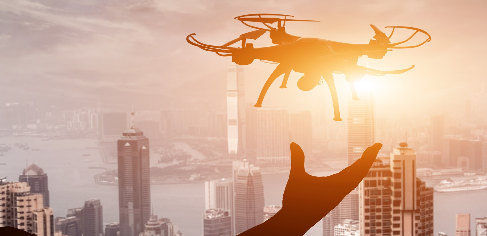 silhouette of drone concept in the city